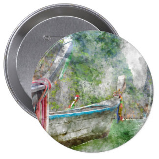 Traditional Long Boat in Thailand 4 Inch Round Button