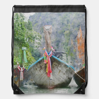 Traditional Long Boat in Thailand Drawstring Bag