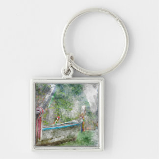 Traditional Long Boat in Thailand Keychain