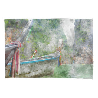 Traditional Long Boat in Thailand Pillowcase
