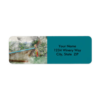 Traditional Long Boat in Thailand Return Address Label