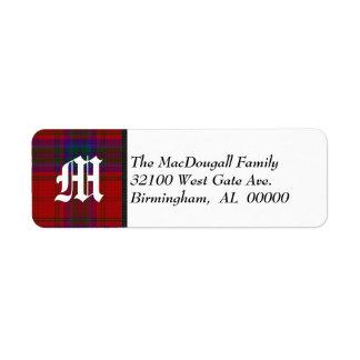 Traditional MacDougall Tartan Plaid Monogram Return Address Label