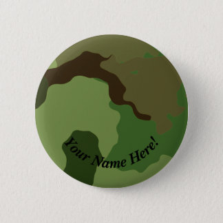 Traditional military camouflage. 2 inch round button