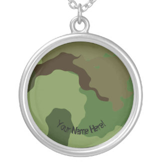 Traditional military camouflage. silver plated necklace