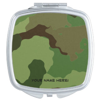 Traditional military camouflage travel mirrors