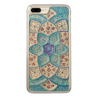Traditional Moroccan turquoise Blue, white, salmon Carved iPhone 8 Plus/7 Plus Case