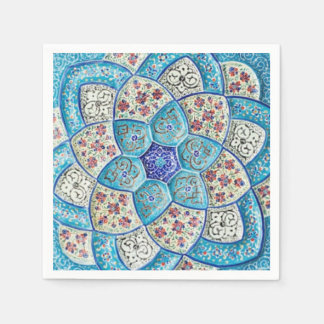 Traditional Moroccan turquoise Blue, white, salmon Disposable Napkins
