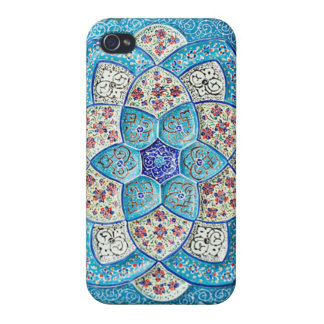 Traditional Moroccan turquoise Blue, white, salmon iPhone 4/4S Cover