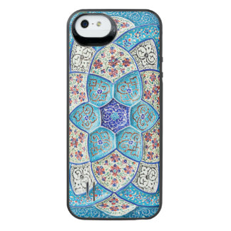 Traditional Moroccan turquoise Blue, white, salmon iPhone SE/5/5s Battery Case