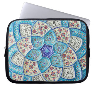 Traditional Moroccan turquoise Blue, white, salmon Laptop Sleeve