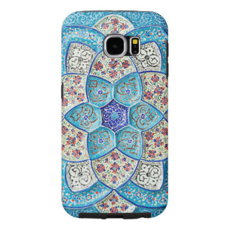 Traditional Moroccan turquoise Blue, white, salmon Samsung Galaxy S6 Cases