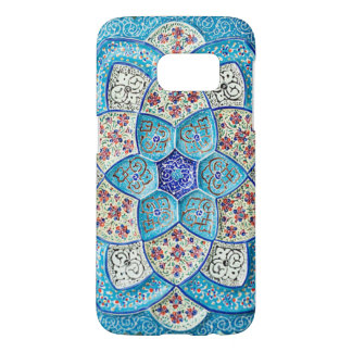 Traditional Moroccan turquoise Blue, white, salmon Samsung Galaxy S7 Case