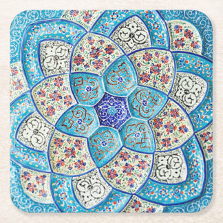 Traditional Moroccan turquoise Blue, white, salmon Square Paper Coaster