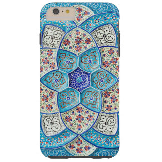 Traditional Moroccan turquoise Blue, white, salmon Tough iPhone 6 Plus Case