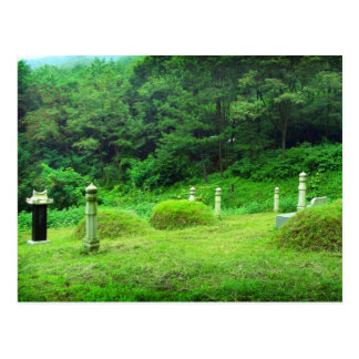 Traditional mountain graves in South Korea Postcard