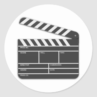 Traditional Movie Clapper-Board Round Stickers