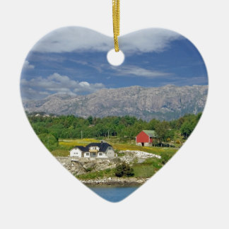 traditional norway ceramic heart ornament