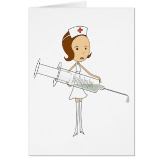 Traditional Nurse with Comically Oversized Syringe Card