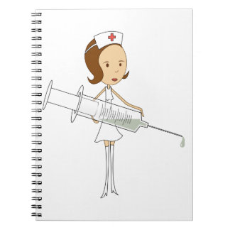 Traditional Nurse with Comically Oversized Syringe Notebooks