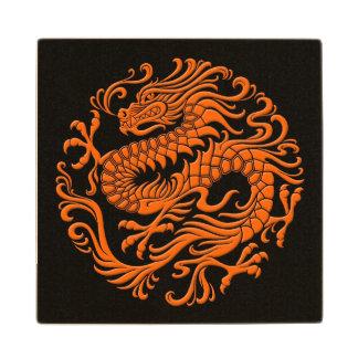 Traditional Orange and Black Chinese Dragon Circle Wood Coaster