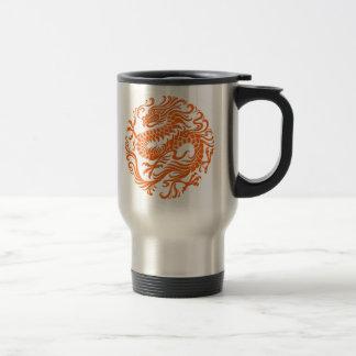 Traditional Orange Chinese Dragon Circle Travel Mug