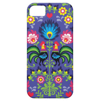 Traditional Polish floral embroidery with roosters iPhone 5 Case