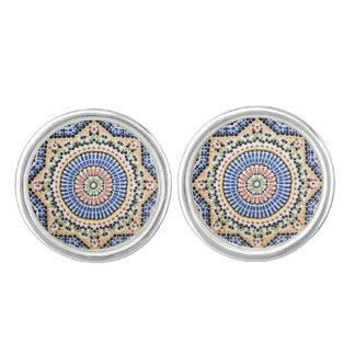 Traditional Portuguese Azulejo Tile Pattern Cuff Links