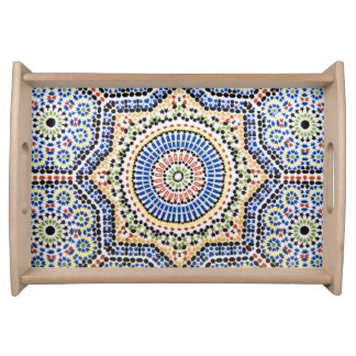 Traditional Portuguese Azulejo Tile Pattern Serving Tray