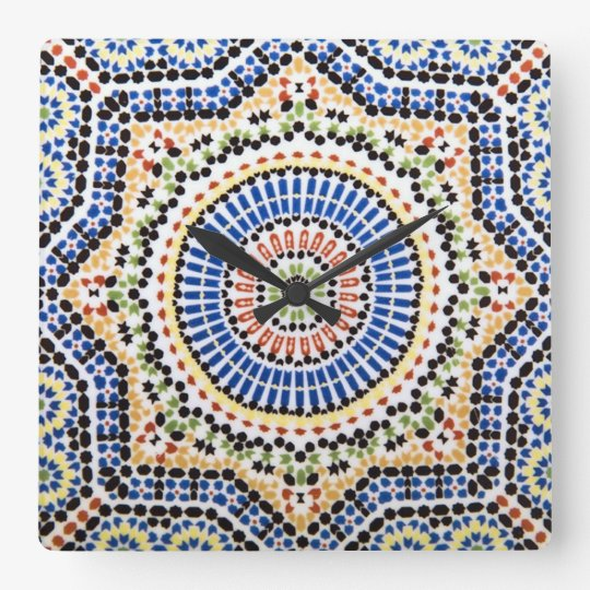Traditional Portuguese Azulejo Tile Pattern Square Wall Clock