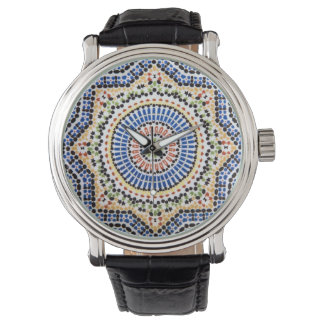 Traditional Portuguese Azulejo Tile Pattern Wrist Watch