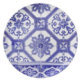 Traditional Portuguese blue tiles design Party Plate