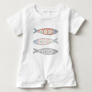 Traditional Portuguese icon. Colored sardines Baby Romper