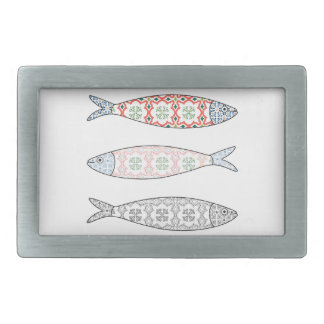 Traditional Portuguese icon. Colored sardines Belt Buckles