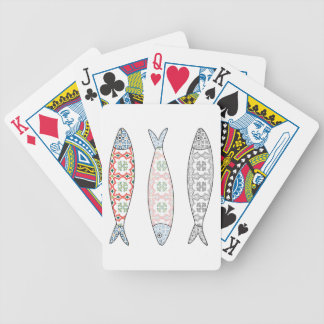 Traditional Portuguese icon. Colored sardines Bicycle Playing Cards