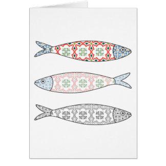 Traditional Portuguese icon. Colored sardines Card