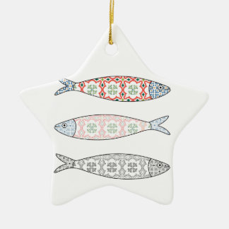 Traditional Portuguese icon. Colored sardines Ceramic Ornament