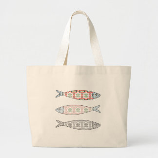 Traditional Portuguese icon. Colored sardines Large Tote Bag