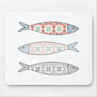 Traditional Portuguese icon. Colored sardines Mouse Pad