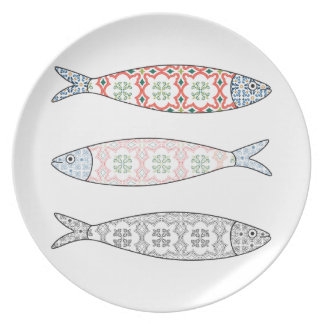 Traditional Portuguese icon. Colored sardines Plate