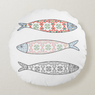 Traditional Portuguese icon. Colored sardines Round Pillow