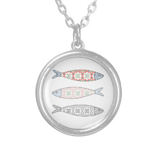 Traditional Portuguese icon. Colored sardines Silver Plated Necklace