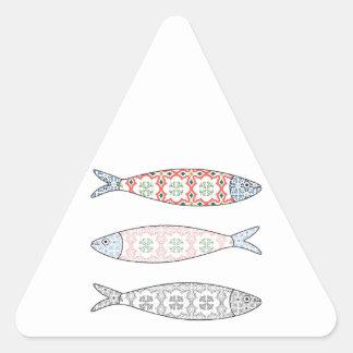 Traditional Portuguese icon. Colored sardines Triangle Sticker