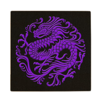 Traditional Purple and Black Chinese Dragon Circle Maple Wood Coaster