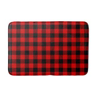 Traditional Red Black Buffalo Check Plaid Pattern Bath Mat