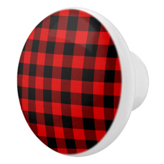 Traditional Red Black Buffalo Check Plaid Pattern Ceramic Knob