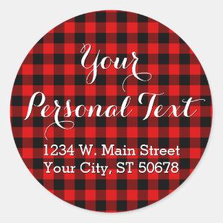 Traditional Red Black Buffalo Check Plaid Pattern Classic Round Sticker