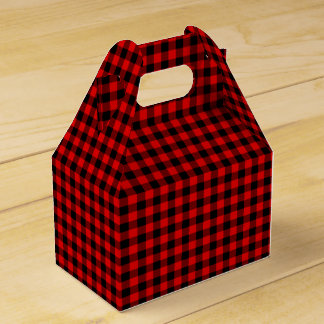 Traditional Red Black Buffalo Check Plaid Pattern Favor Box