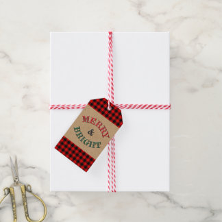 Traditional Red Black Buffalo Check Plaid Pattern Gift Tags
