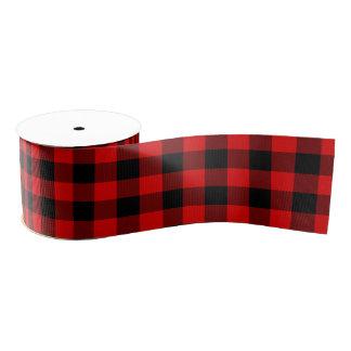 Traditional Red Black Buffalo Check Plaid Pattern Grosgrain Ribbon