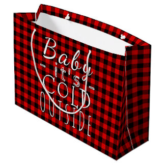 Traditional Red Black Buffalo Check Plaid Pattern Large Gift Bag